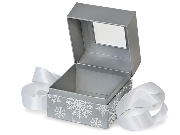 """Silver Snowflakes Window Box with Ribbon, 3.75x3.75x3"""", 18 Pack"""