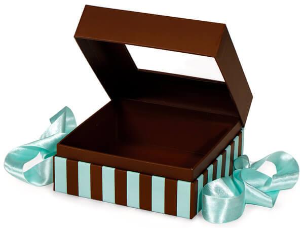 "Aqua & Chocolate Stripe Window Box with Ribbon, 5.75x5.75x3"", 18 Pack"