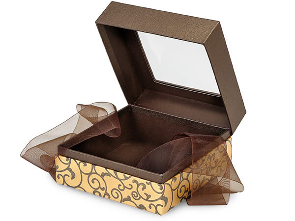 "Elegant Chocolate Scroll Window Box with Ribbon, 5.75x5.75x3"", 18 Pack"