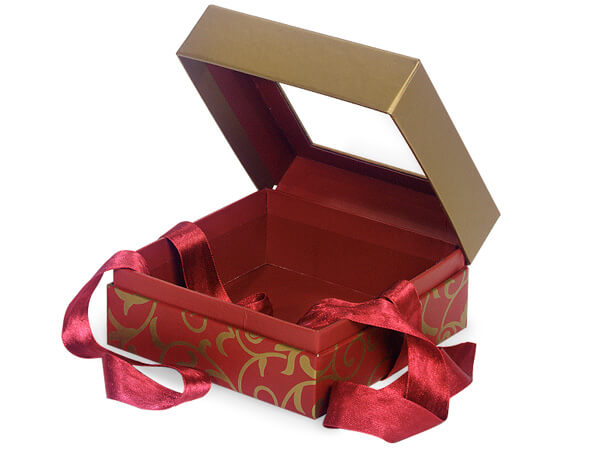 "Elegant Red Scroll Window Box with Ribbon, 5.75x5.75x3"", 18 Pack"