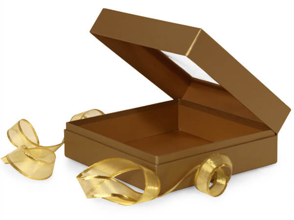 Metallic Gold Window Presentation Boxes with Ribbon