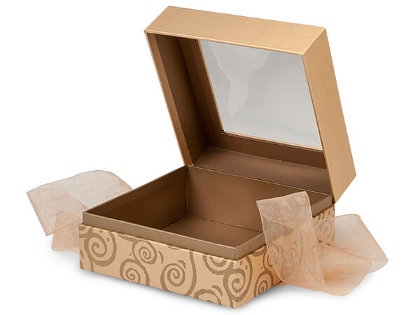 Gold Swirl Window Presentation Boxes with Ribbon