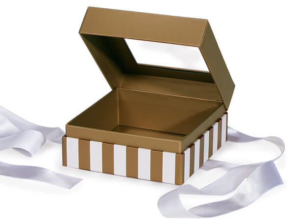 "Gold & Ivory Stripe Window Box with Ribbon, 5.75x5.75x3"", 18 Pack"