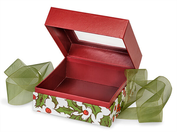 "Holly Berry Tidings Window Box with Ribbon, 5.75x5.75x3"", 18 Pack"
