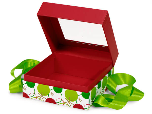 "Hip Holiday Window Box with Ribbon, 5.75x5.75x3"", 18 Pack"