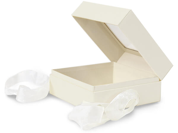 "Ivory Window Box with Ribbon, 5.75x5.75x3"", 18 Pack"
