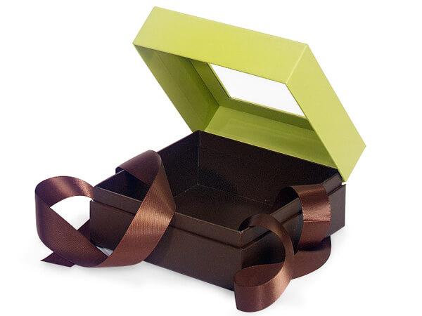 "Pistachio & Chocolate Window Box with Ribbon, 5.75x5.75x3"", 18 Pack"