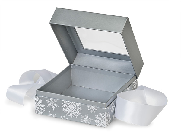 """Silver Snowflakes Window Box with Ribbon, 5.75x5.75x3"""", 18 Pack"""
