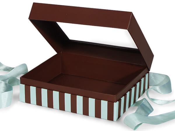"Aqua & Chocolate Stripe Window Box with Ribbon, 7.75x7.75x3"", 12 Pack"