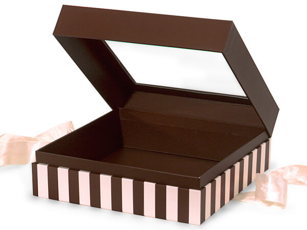 "Chocolate & Pink Stripe Window Box with Ribbon, 7.75x7.75x3"", 12 Pack"
