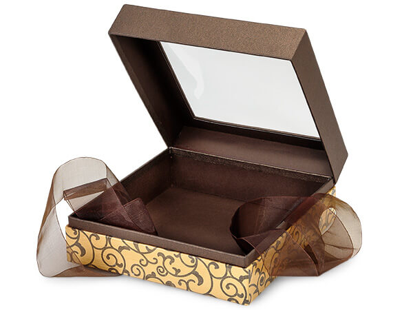 "Elegant Chocolate Scroll Window Box with Ribbon, 7.75x7.75x3"", 12 Pack"