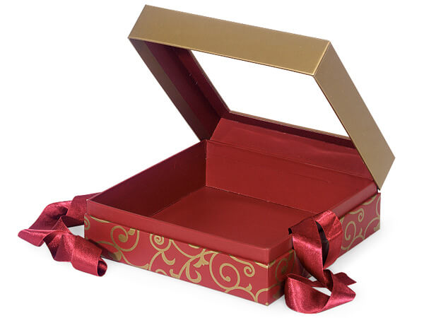 "Elegant Red Scroll Window Box with Ribbon, 7.75x7.75x3"", 12 Pack"