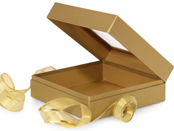 "Metallic Gold Window Box with Ribbon, 7.75x7.75x3"", 12 Pack"