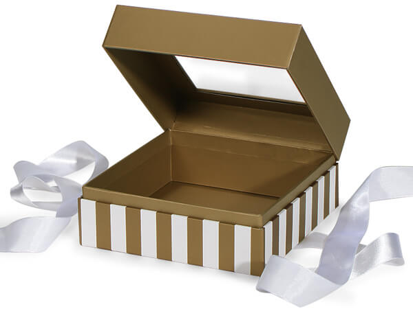"Gold & Ivory Stripe Window Box with Ribbon, 7.75x7.75x3"", 12 Pack"