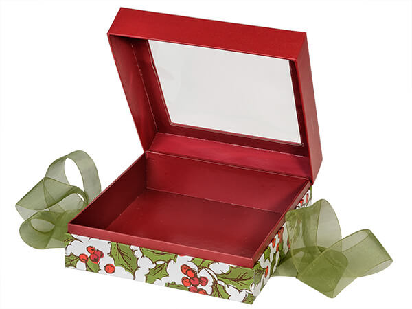 "Holly Berry Tidings Window Box with Ribbon, 7.75x7.75x3"", 12 Pack"