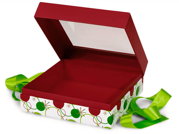 "Hip Holiday Window Box with Ribbon, 7.75x7.75x3"", 12 Pack"
