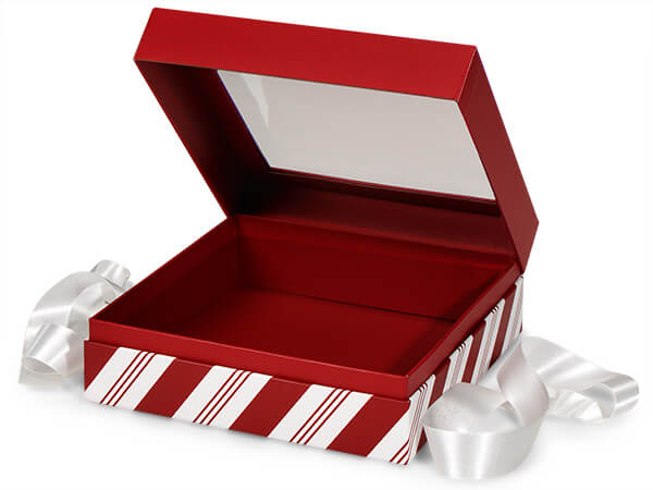 "Peppermint Stripe Window Box with Ribbon, 7.75x7.75x3"", 12 Pack"