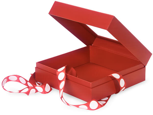 "Solid Red Window Box with Ribbon, 7.75x7.75x3"", 12 Pack"