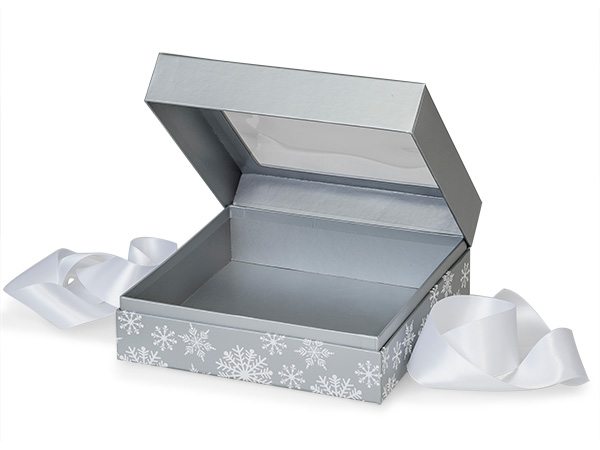"Silver Snowflakes Window Box with Ribbon, 7.75x7.75x3"", 12 Pack"