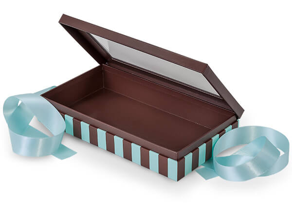 "Aqua & Chocolate Stripe Window Box with Ribbon, 8.25x4.5x1.5"", 18 Pack"