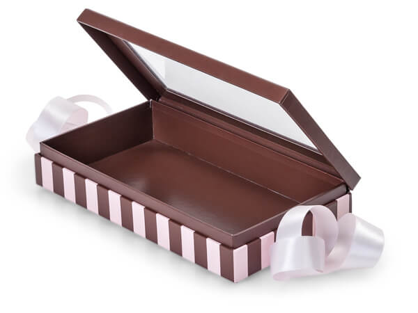 "Chocolate & Pink Stripe Window Box with Ribbon, 8.25x4.5x1.5"", 18 Pack"