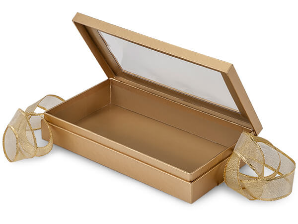Gold Window Presentation Boxes with Ribbon