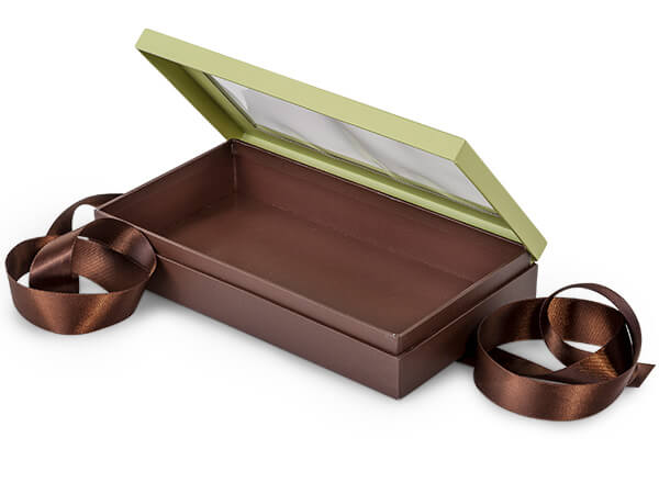 "Pistachio & Chocolate Window Box with Ribbon, 8.25x4.5x1.5"", 18 Pack"