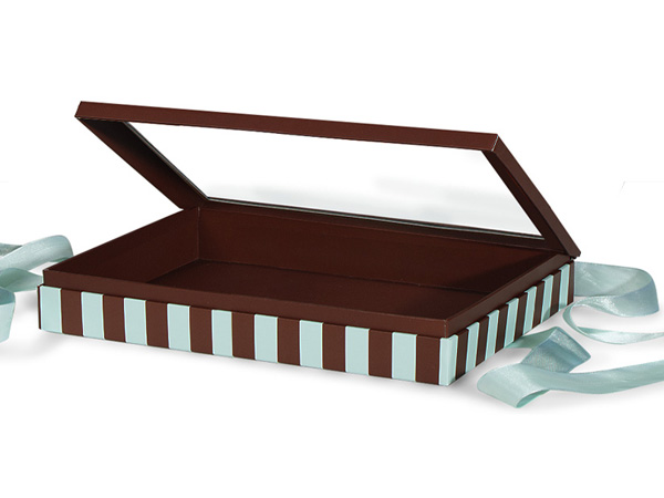 "Aqua & Chocolate Stripe Window Box with Ribbon, 10x6x1.5"", 12 Pack"