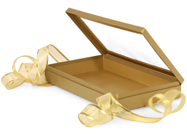 "Metallic Gold Window Box with Ribbon, 10x6x1.5"", 12 Pack"