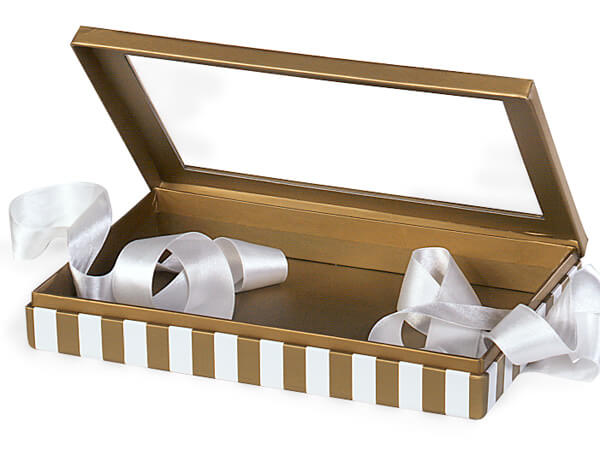 "Gold & Ivory Stripe Window Box with Ribbon, 10x6x1.5"", 12 Pack"