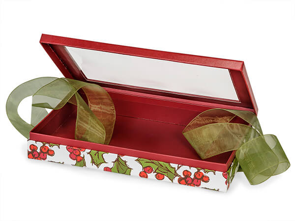 "Holly Berry Tidings Window Box with Ribbon, 10x6x1.5"", 12 Pack"
