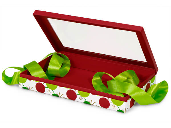 """Hip Holiday Window Box with Ribbon, 10x6x1.5"""", 12 Pack"""