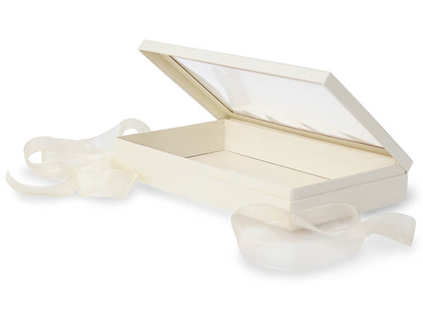 "Ivory Window Box with Ribbon, 10x6x1.5"", 12 Pack"