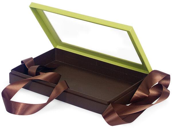"Pistachio & Chocolate Window Box with Ribbon, 10x6x1.5"", 12 Pack"