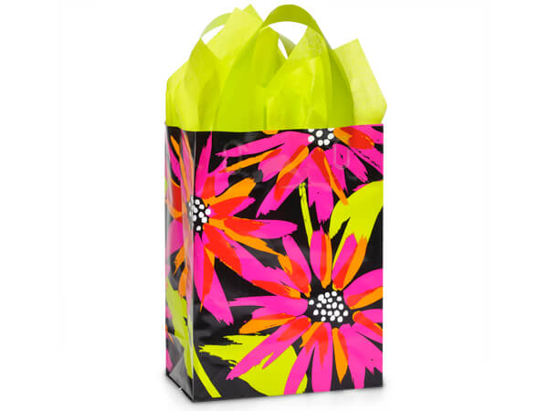 "Brushed Floral Plastic Gift Bags, Cub 8x4x10"", 100 Pack, 3 mil"