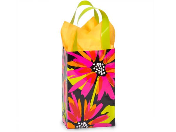 "Brushed Floral Plastic Gift Bags, Rose 5.25x3.25x8.5"", 100 Pack"