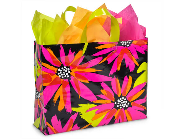 "Brushed Floral Plastic Gift Bags, Vogue 16x6x12"", 100 Pack, 3 mil"