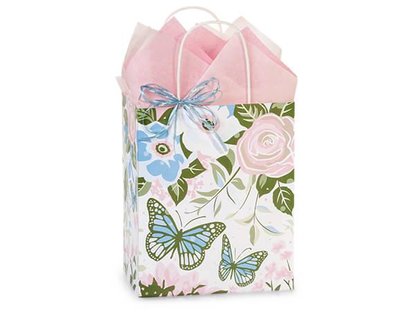 "Butterfly Garden Paper Shopping Bags, Cub 8x4.75x10.25"", 25 Pack"