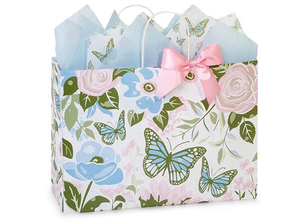 """Butterfly Garden Paper Shopping Bags, Vogue 16x6x12"""", 25 Pack"""