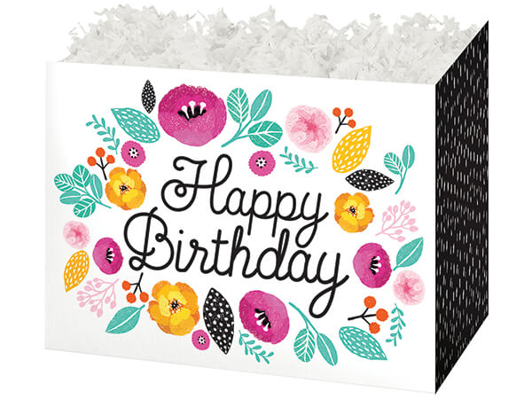 "Birthday Flowers Basket Boxes, Large 10.25x6x7.5"", 6 Pack"