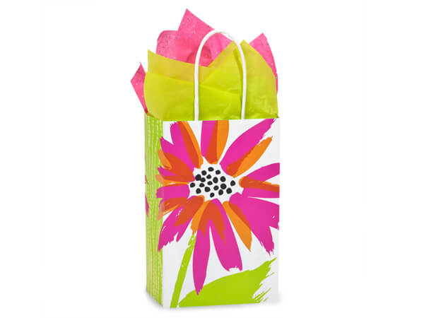 """Rose Brushed Floral Recycled Bags 25 Pk 5-1/4x3-1/2x8-1/4"""""""