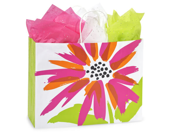 Vogue Brushed Floral Recycled Bags 25 Pk 16x6x12-1/2""