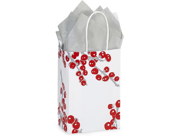 "*Berry Frost Paper Shopping Bags, Rose 5.5x3.25x8.5"", 25 Pack"
