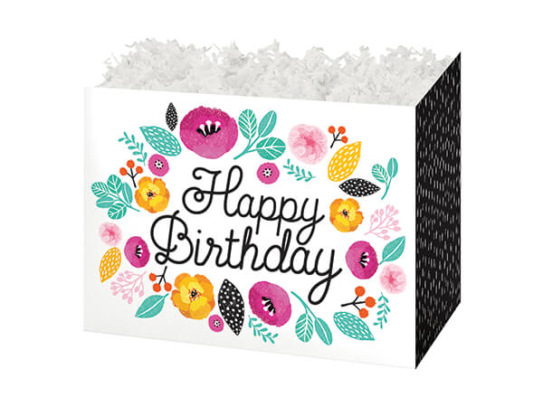 """Birthday Flowers Basket Boxes, Small 6.75x4x5"""", 6 Pack"""