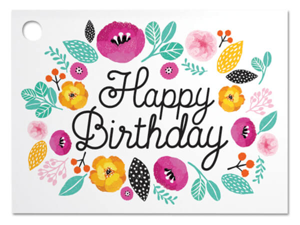 """Birthday Flowers Theme Gift Cards, 3.75x2.75"""", 6 Pack"""