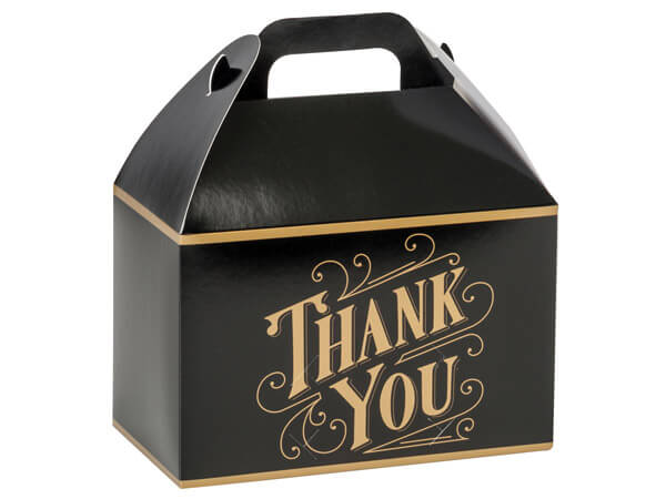 """Black & Gold Thank You Gable Boxes, 8-1/2 x 4-3/4 x 5-1/2"""", Pack 6"""