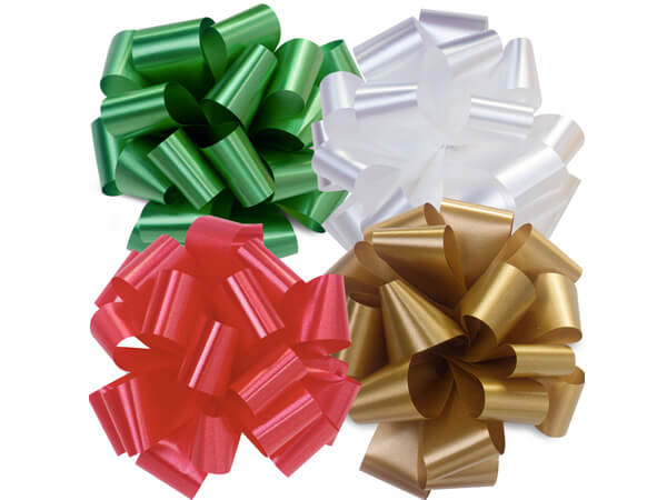 "Christmas 5"" Self Adhesive Pom Pom Gift Bow Assortment, 48 Pack"