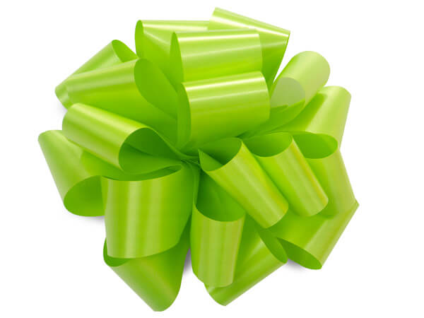 "5"" Citrus Green Self Adhesive Pom Pom Gift Bows, 48 Pack"