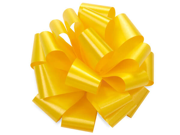 "Daffodil Yellow 5"" Self Adhesive Pom Pom Gift Bows, 48 Pack"
