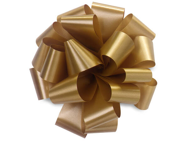 "5"" Holiday Gold Self Adhesive Pom Pom Gift Bows, 48 Pack"